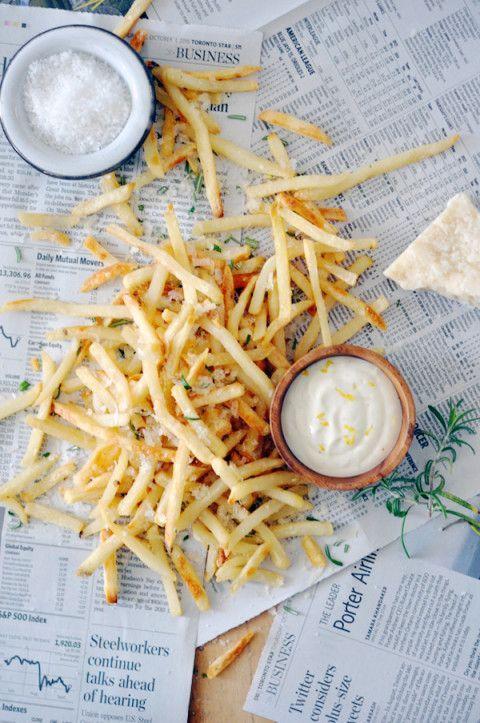Rosemary Parmesan Fries with Truffle Aioli   lark & linen #foodsides