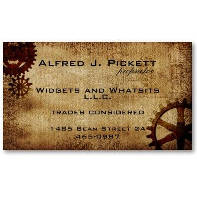 Vintage Steampunk Cogs Business Card Steampunk Business Cards
