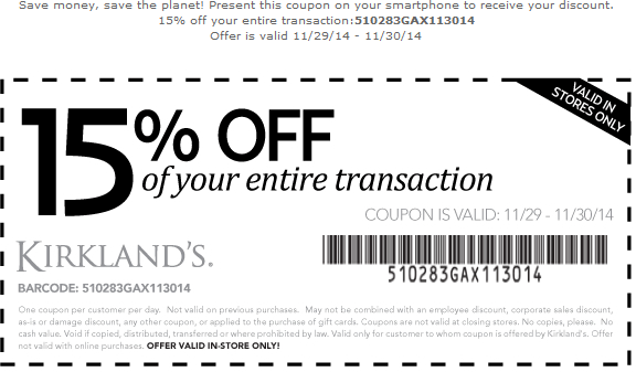 graphic relating to Home Goods Coupon Printable known as Pinned November 29th: 15% off at Kirklands homegoods #coupon