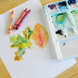Crayon and Watercolor Leaf Art