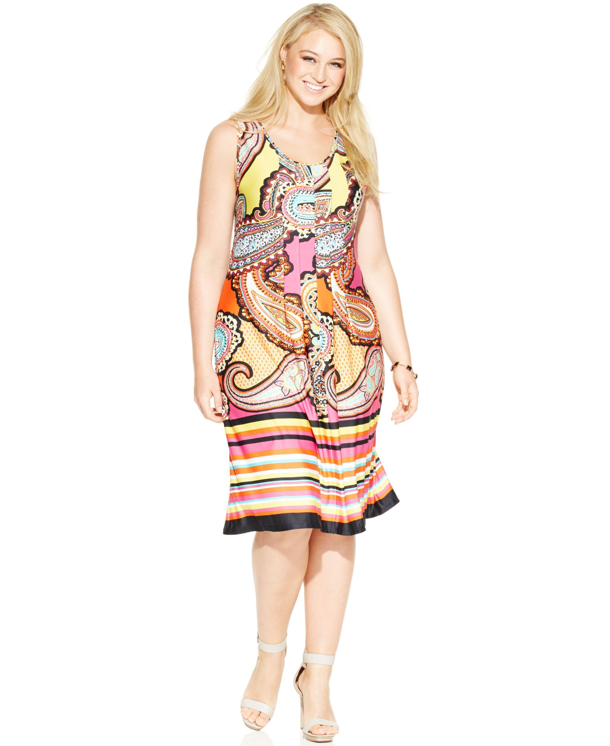 534bd996baa946 Ny Collection Plus Size Paisley-Print Tank Dress | Products ...