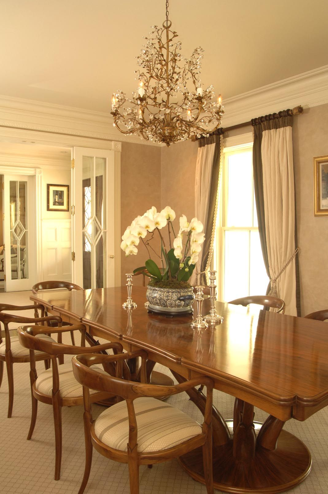 Custom Dining Table And Chairs In This Greenwich Ct Home With