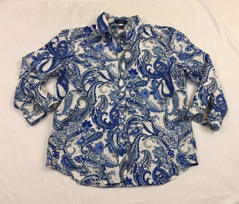 752a2b6b Chaps Women Shirt L Blouse Blue Colorful Paisley 3/4 Sleeves Button Up S536  #Chaps #ButtonDownShirt #Casual