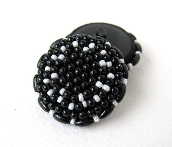 Pulsante seme perline nero bianco per cucire gambo acrilico plastica 35mm vintage but0176 (2)