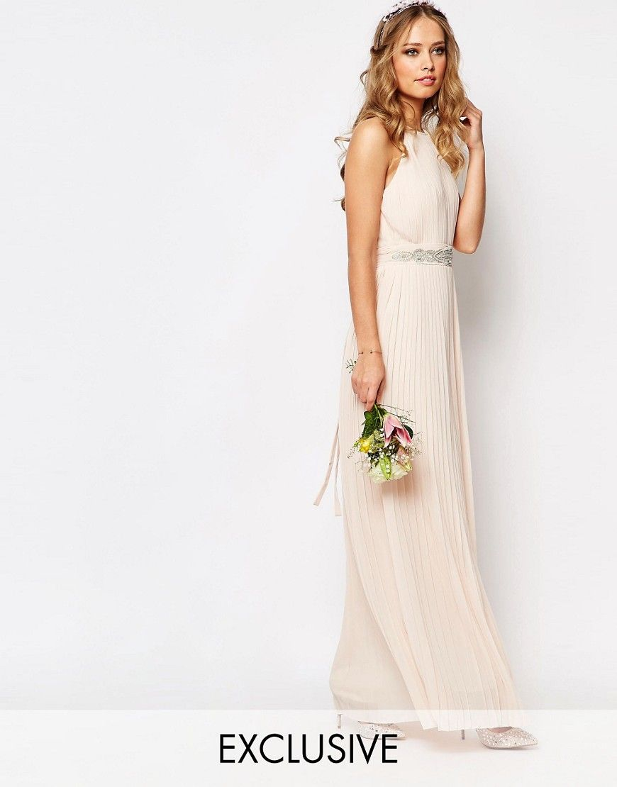 Image 1 of TFNC WEDDING High Neck Pleated Maxi Dress | bridesmaids ...