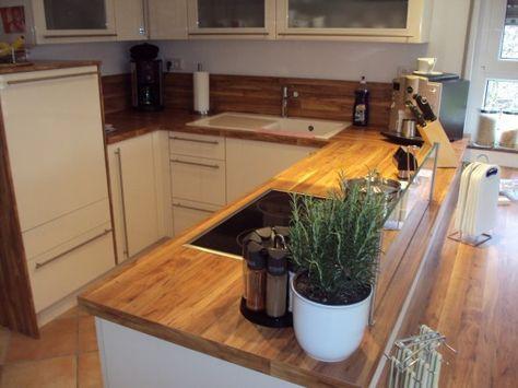 Arbeitsplatte Holz Herd Glasabtrennung Küchen Pinterest Kueche - arbeitsplatte holz küche