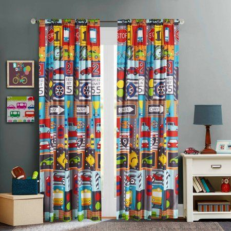 Mainstays Kids Busy Cars Curtain Panel | Cars, Curtains and Kid