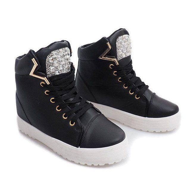 Wysokie Trampki Na Koturnie K08 Czarny Czarne Sneakers Platform Sneakers Trainers Women