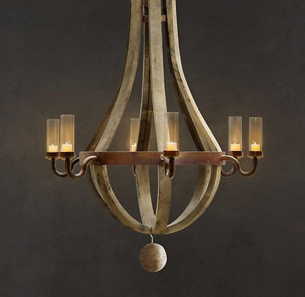 Outdoor Wine Barrel Chandelier Handcrafted In Poland From Reclaimed French Oak Staves And Hoops Holds Battery Votive Candles