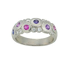 Platinum, Pink sapphire, diamond and purple sapphire orchard ring. Get it now at http://vonbargensjewelry.com/product/platinum-sapphire-diamond-orchard-2-2/