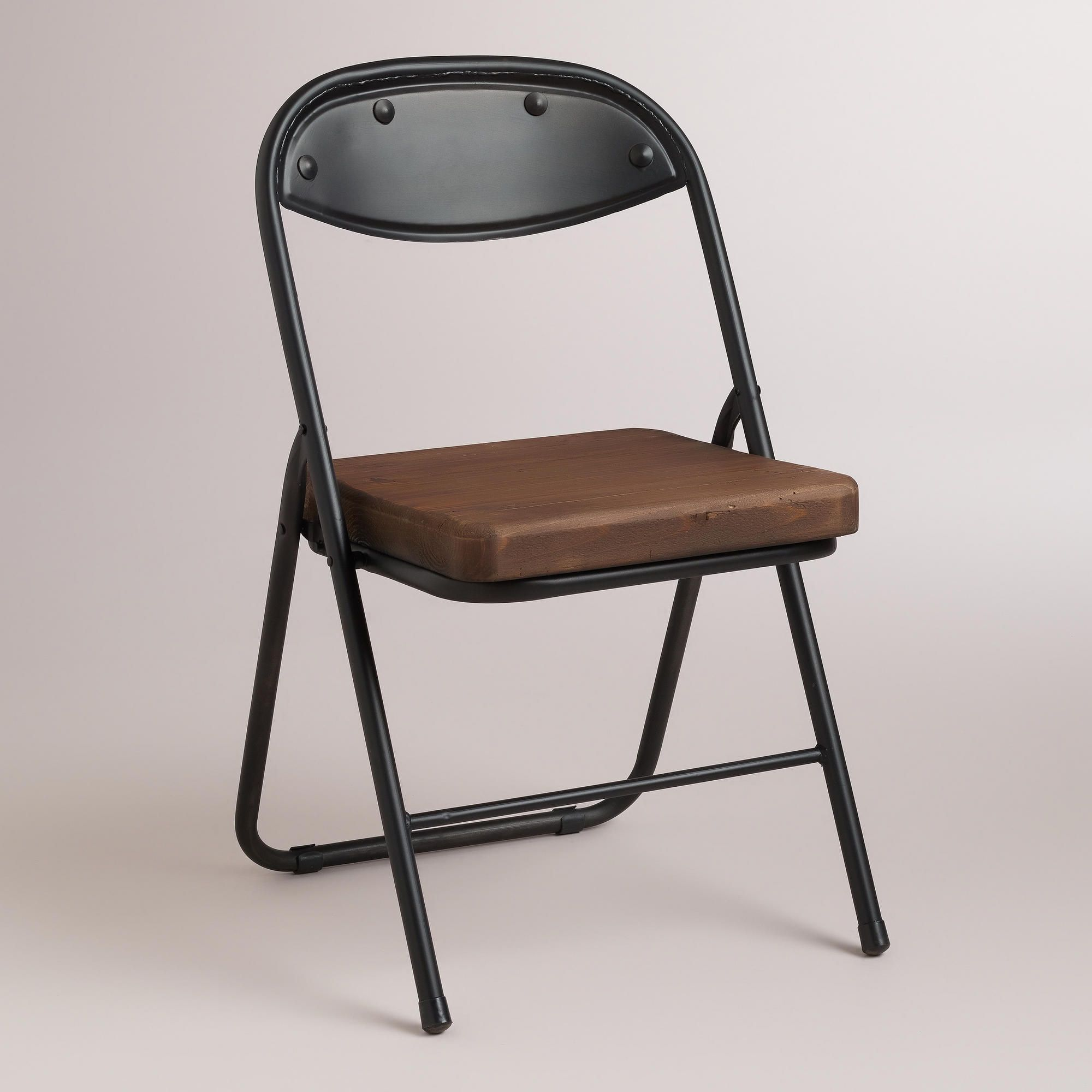 Wood and Metal Colton Folding Chairs Set of 2