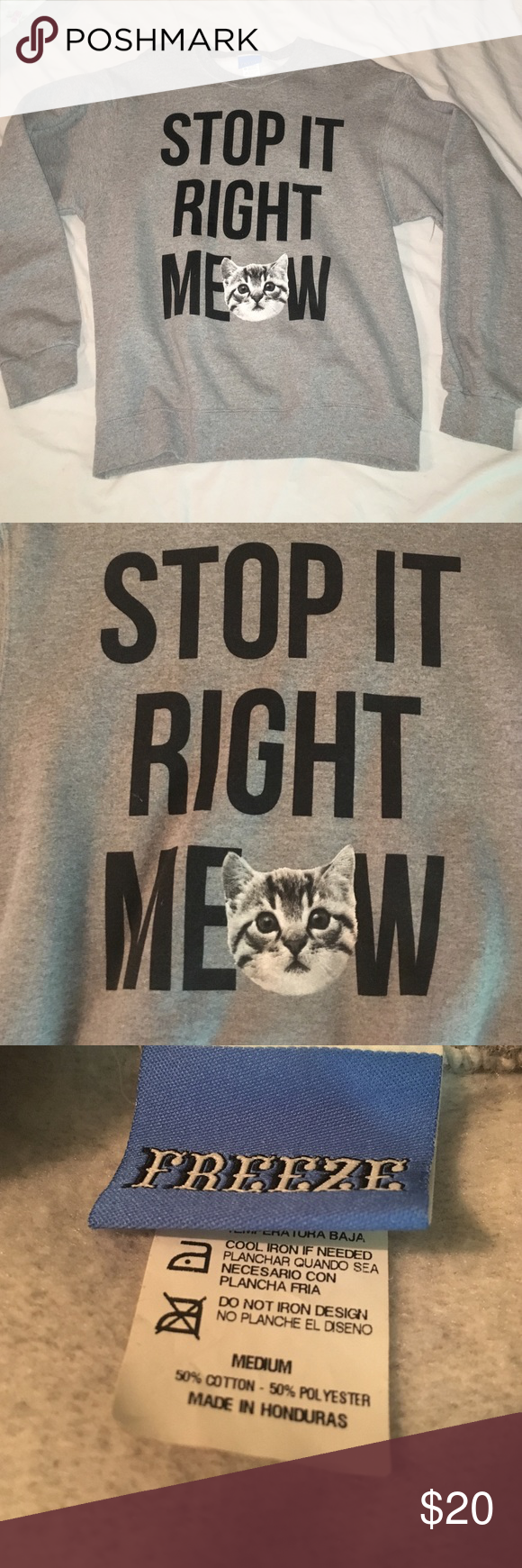 Stop it right meow crewneck Purchased from Urban Outfitters. Worn a few times but in perfect condition. Very soft and comfy. The inside is very soft as well. Size medium but I'm a small. Bought it to be oversized and more comfy. Listed under Brandy Melville for exposure. Brandy Melville Sweaters Crew & Scoop Necks
