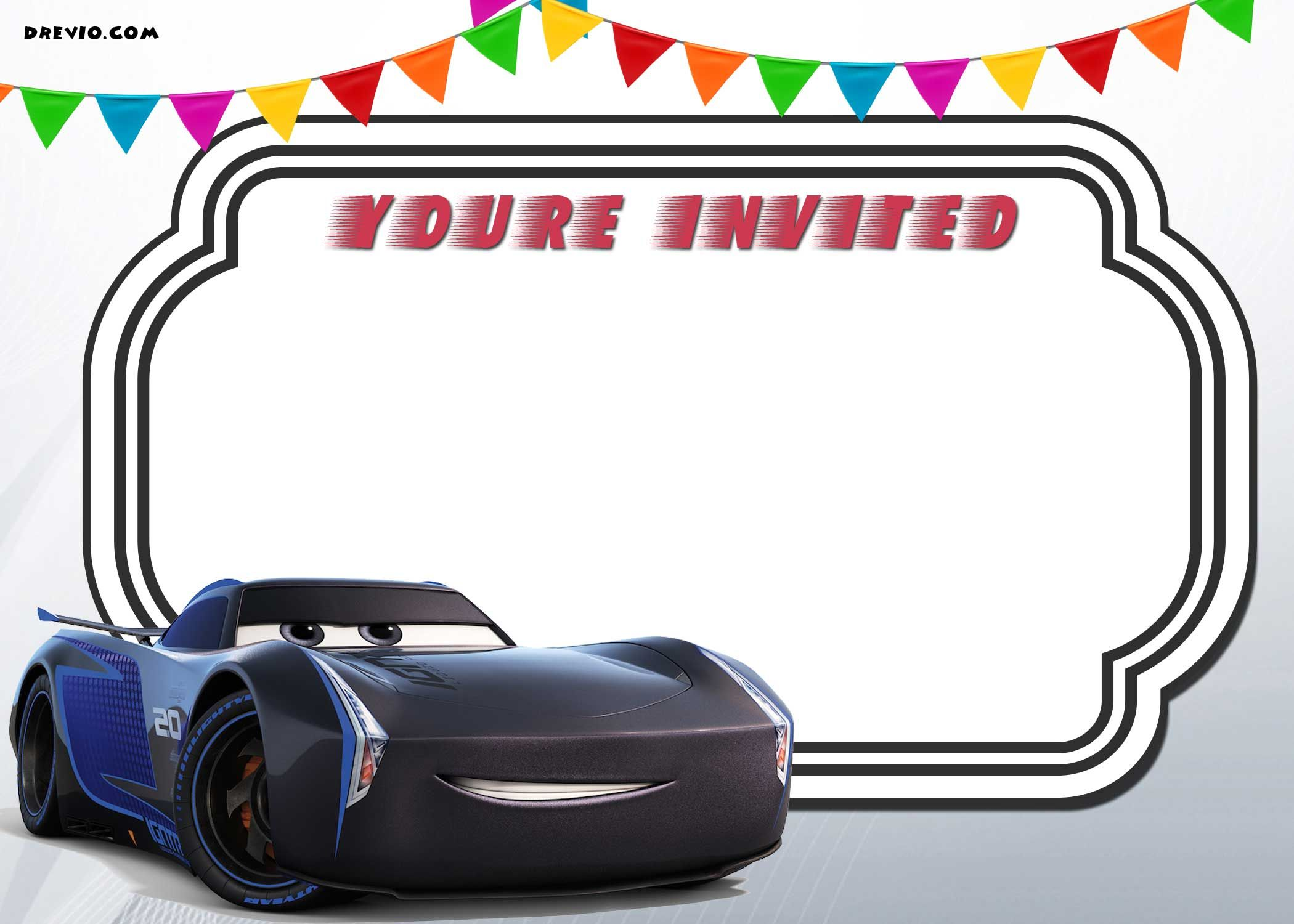 Awesome FREE Printable Cars 3 Lightning McQueen Invitation Template