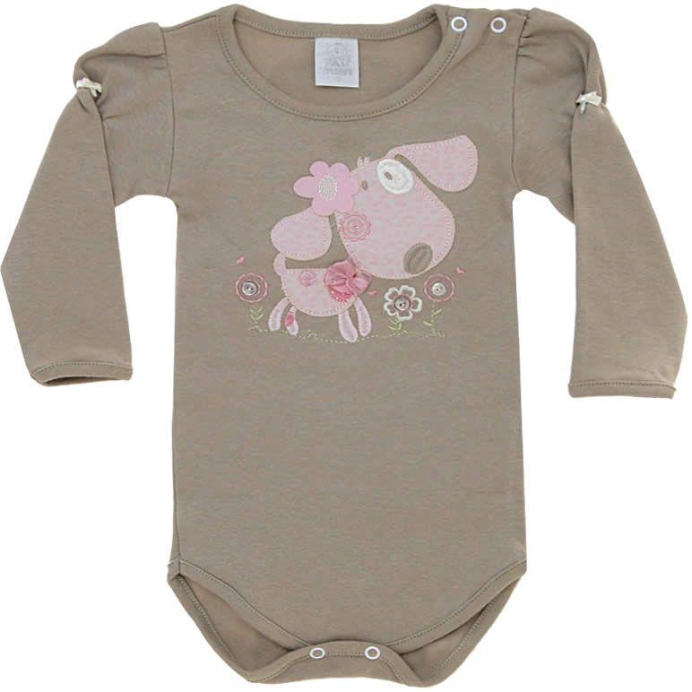 Body Bebê Menina Cachorro Romântico Cáqui - Patimini    764 Kids ... c40557a83dc