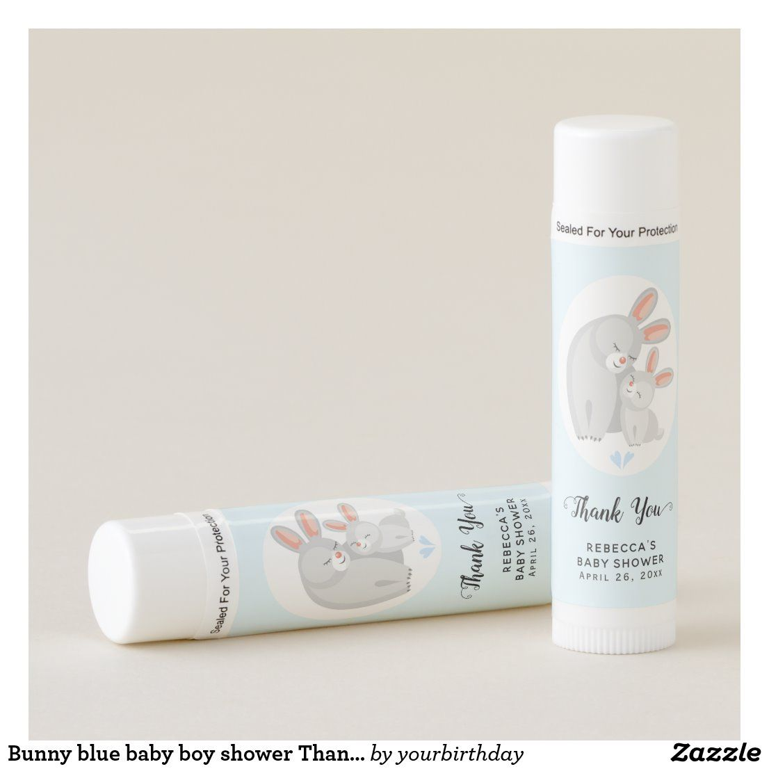 Bunny blue baby boy shower Thank You favor Lip Balm #lipbalm #babyshowerfavor #thankyou #babyboy