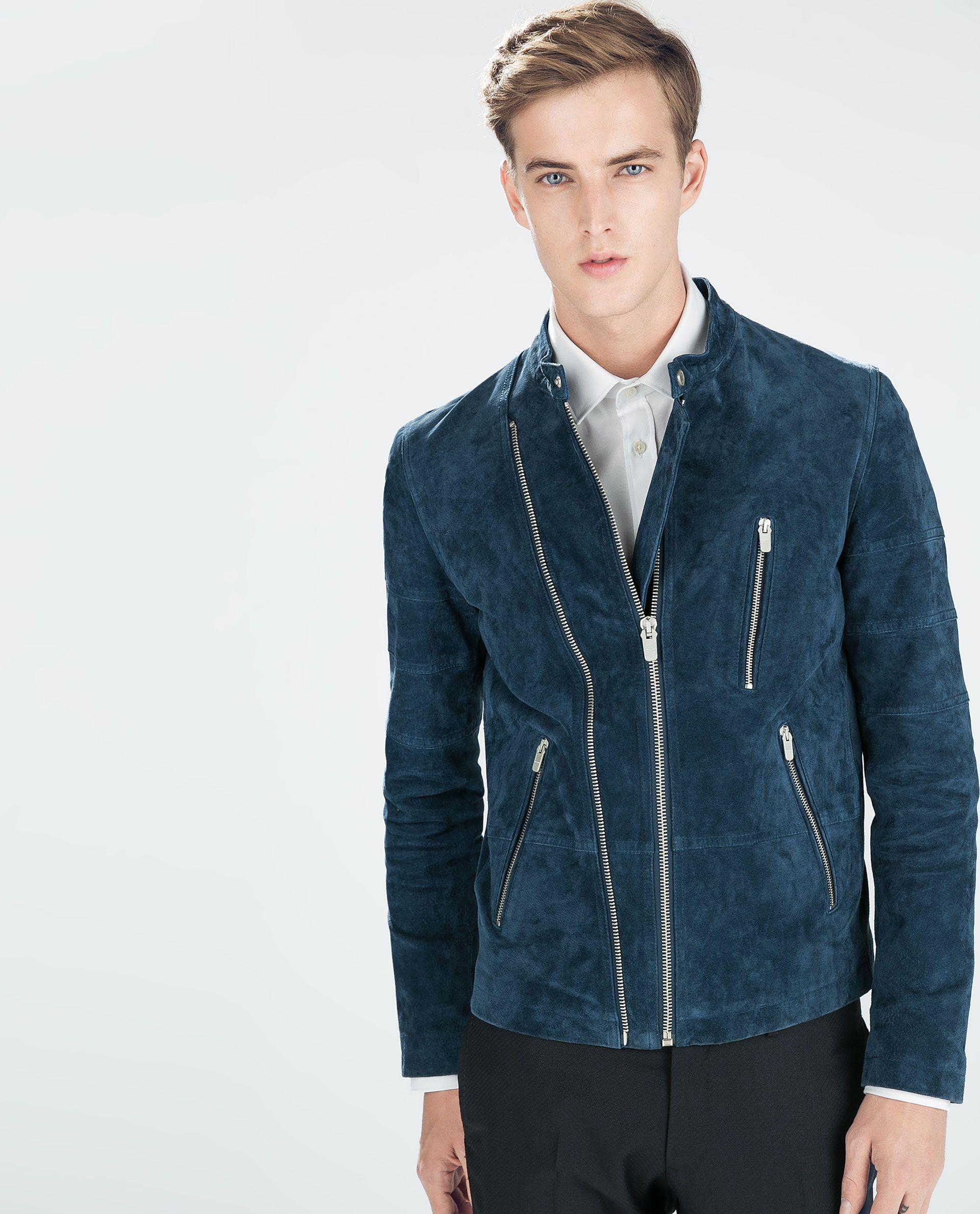 Double Zip Suede Jacket Jackets Man Zara Germany Suede Jacket Outfit Blue Suede Jacket Jackets