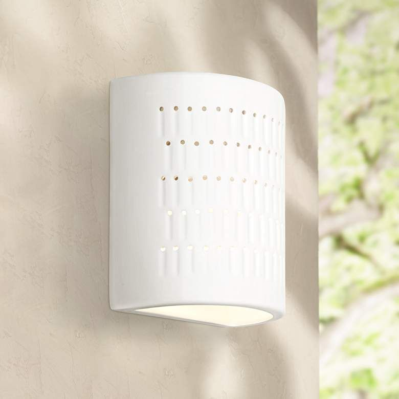 White Ceramic Outdoor Wall Light
