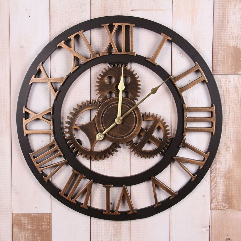 Large Wooden Wall Clock Roman Numerals Time Piece 60cm