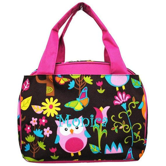 878224cc1214 Owl Town Print Insulated Lunch BagHot PinkFREE by TwoPeasInABucket ...