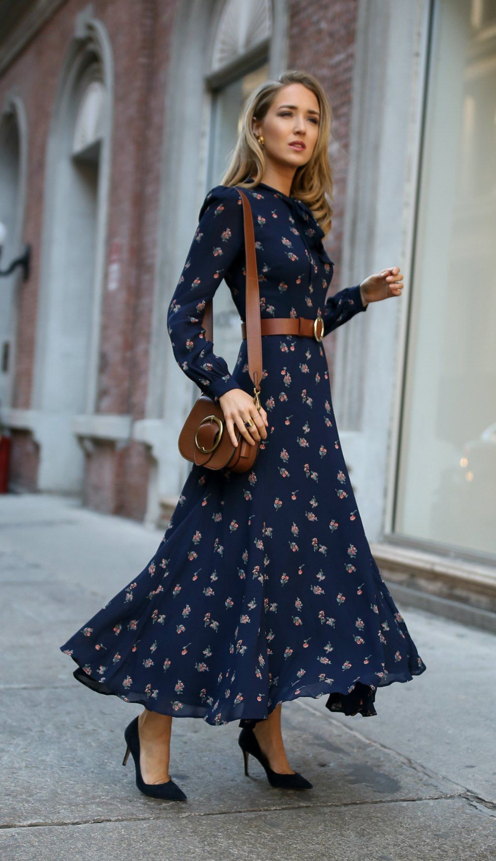 Click For Outfit Details Navy Floral Tie Neck Maxi Dress With Navy Suede Stiletto Pumps A Brown Leather Circle Waist Belt And A Fashion Classy Dress Dresses [ 1735 x 1000 Pixel ]