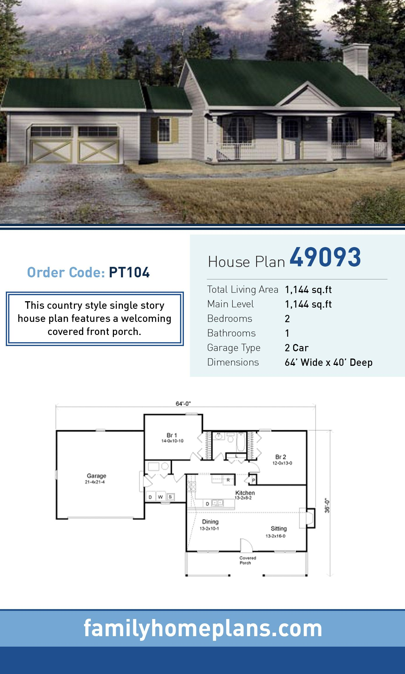 House Plan 49093 With 2 Bed 1 Bath 2 Car Garage House Plans Starter Home Plans Open House Plans