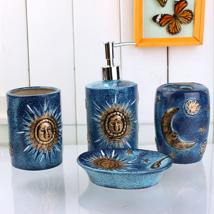 4 Piece Golden Sun And Moon Pattern Blue Ceramic Bath