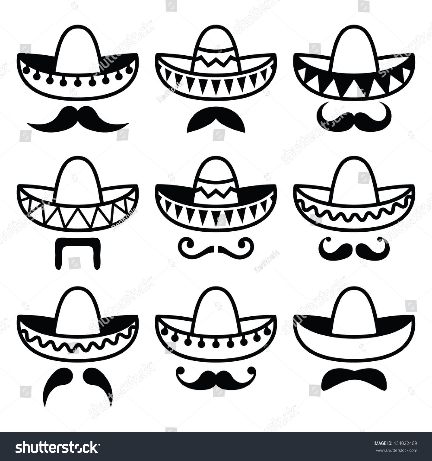 Mexican Sombrero Hat With Moustache Or Mustache Icons Mexican Sombrero Hat Mexico Tattoo Mexican Tattoo