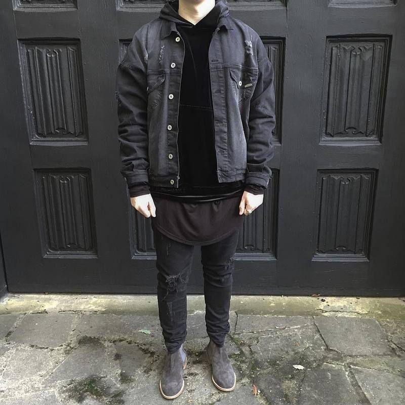 Kanye West Jean Jacket Google Search In 2020 Designer Jackets For Men Black Denim Jacket Jackets