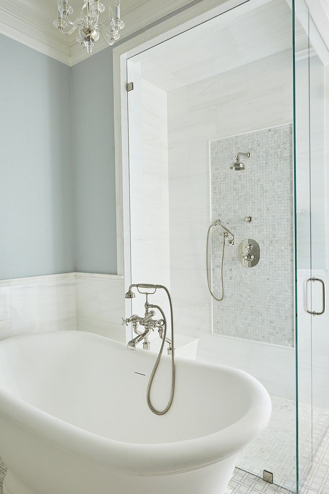 Traditional Bathroom Soft blue Traditional Bathroom with ...