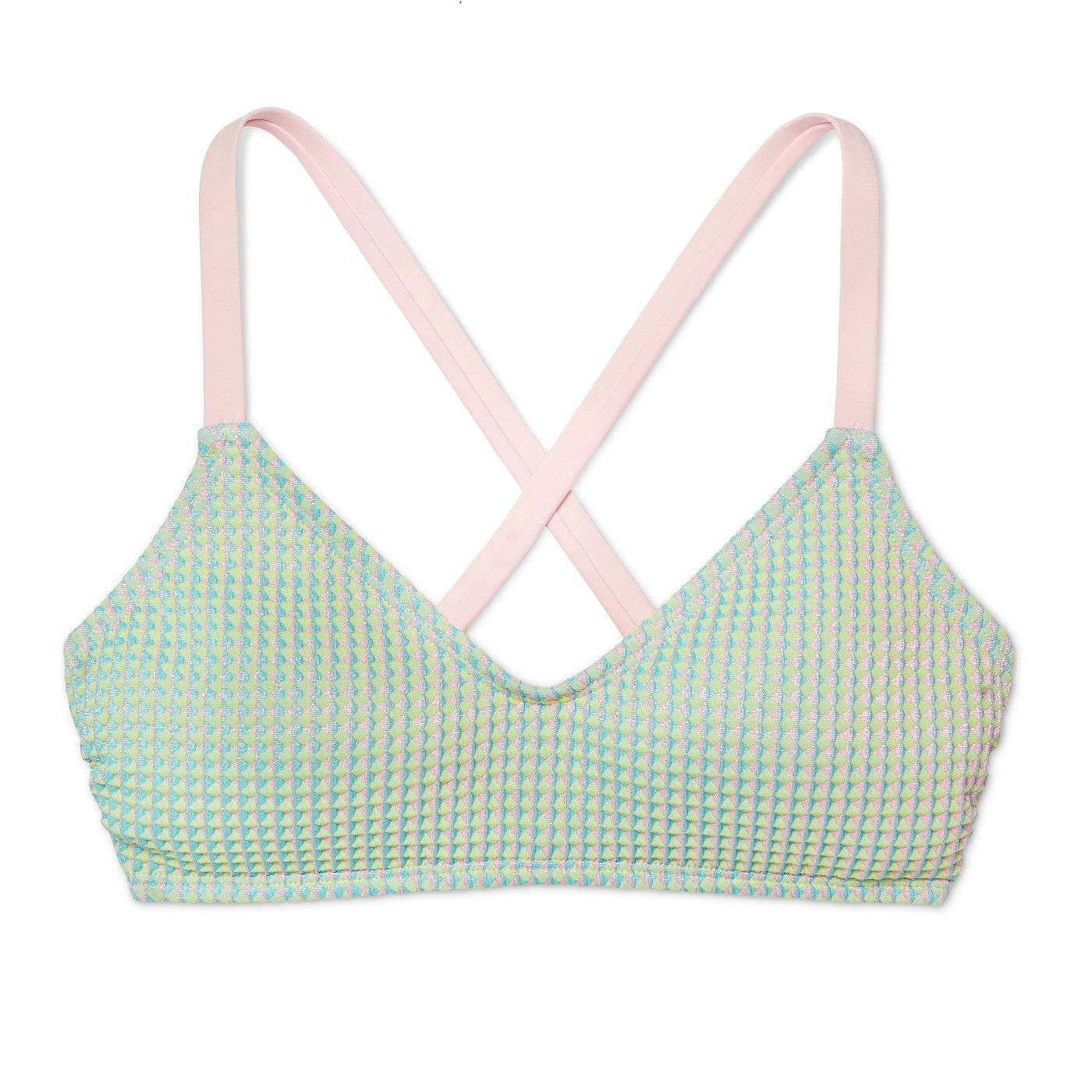 48d97b1fa717e Women s Textured Metallic Bralette Bikini Top - Xhilaration  Metallic Multi  XS  Metallic