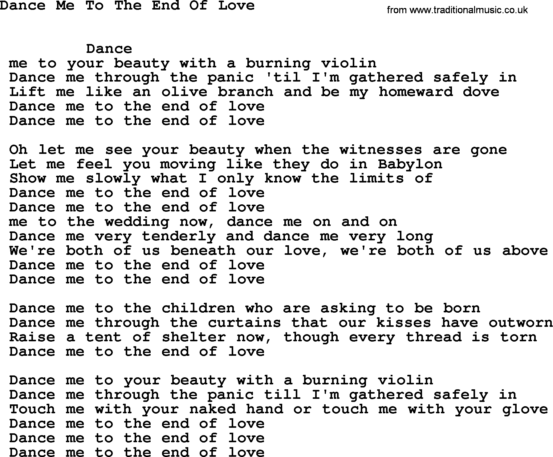 the end of love song
