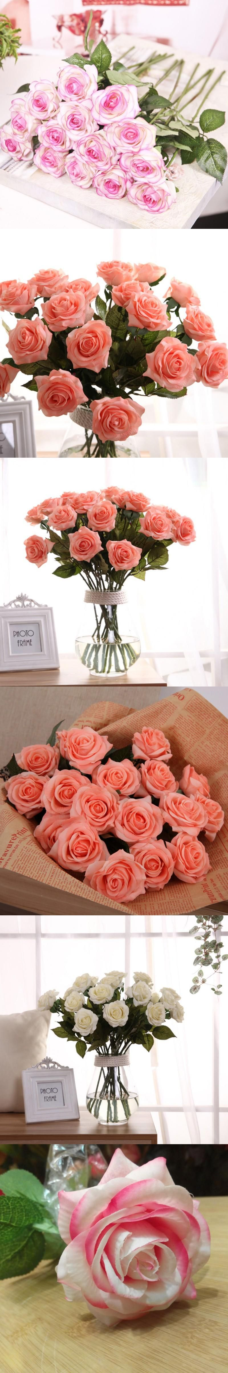 New artificial silk latex rose flowers wedding bouquet bridal new artificial silk latex rose flowers wedding bouquet bridal decoration bundles real touch flower bouquets realistic junglespirit Images