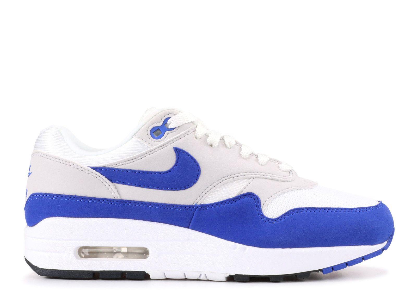 best sneakers 31774 cf88c Buy Nike Air Max 1 Anniversary White Game Royal Neutral Grey Trainers UK  Store