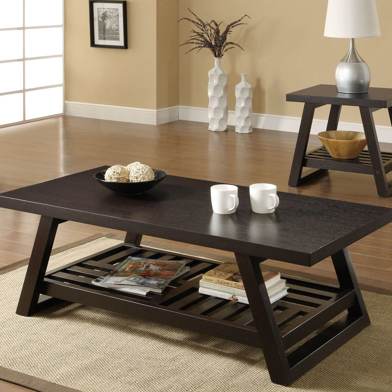 Best Contemporary Coffee Table With Slatted Bottom Shelf In 400 x 300