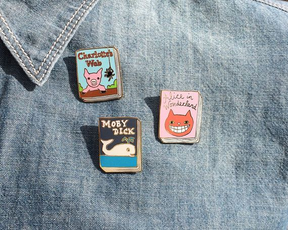 Book Badge enamel pins by janemount on Etsy