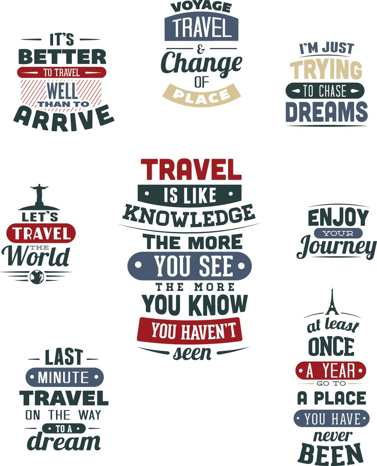 Travel Tshirt templates set vector T shirt design