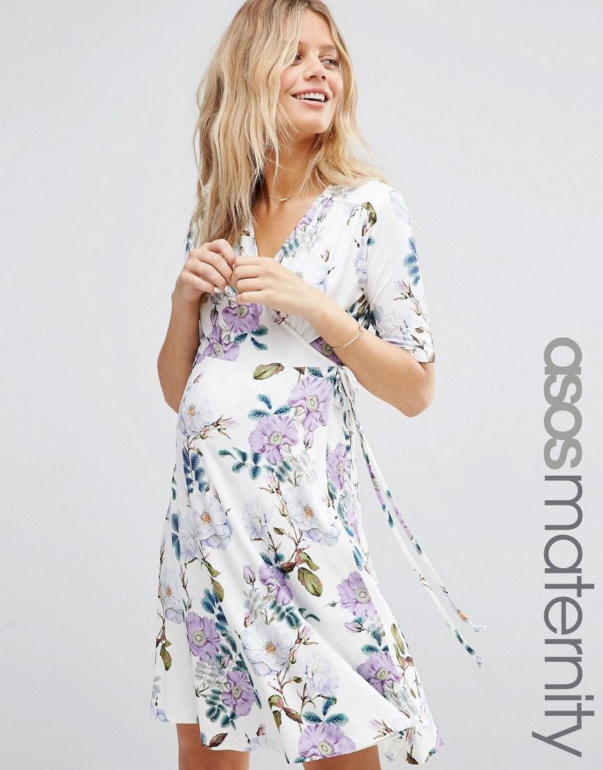 84a2f12e0095 Maternity Mini Tea Dress in Vintage Floral Print - create more definition  under bust and do in polka dot fabric