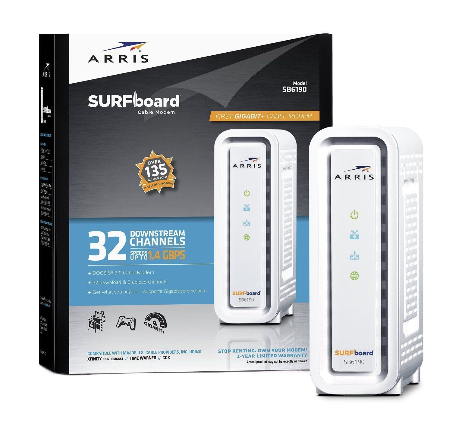 ARRIS SURFboard SBG6400 DOCSIS 3.0 Cable Modem/ Wi-Fi N Router ...