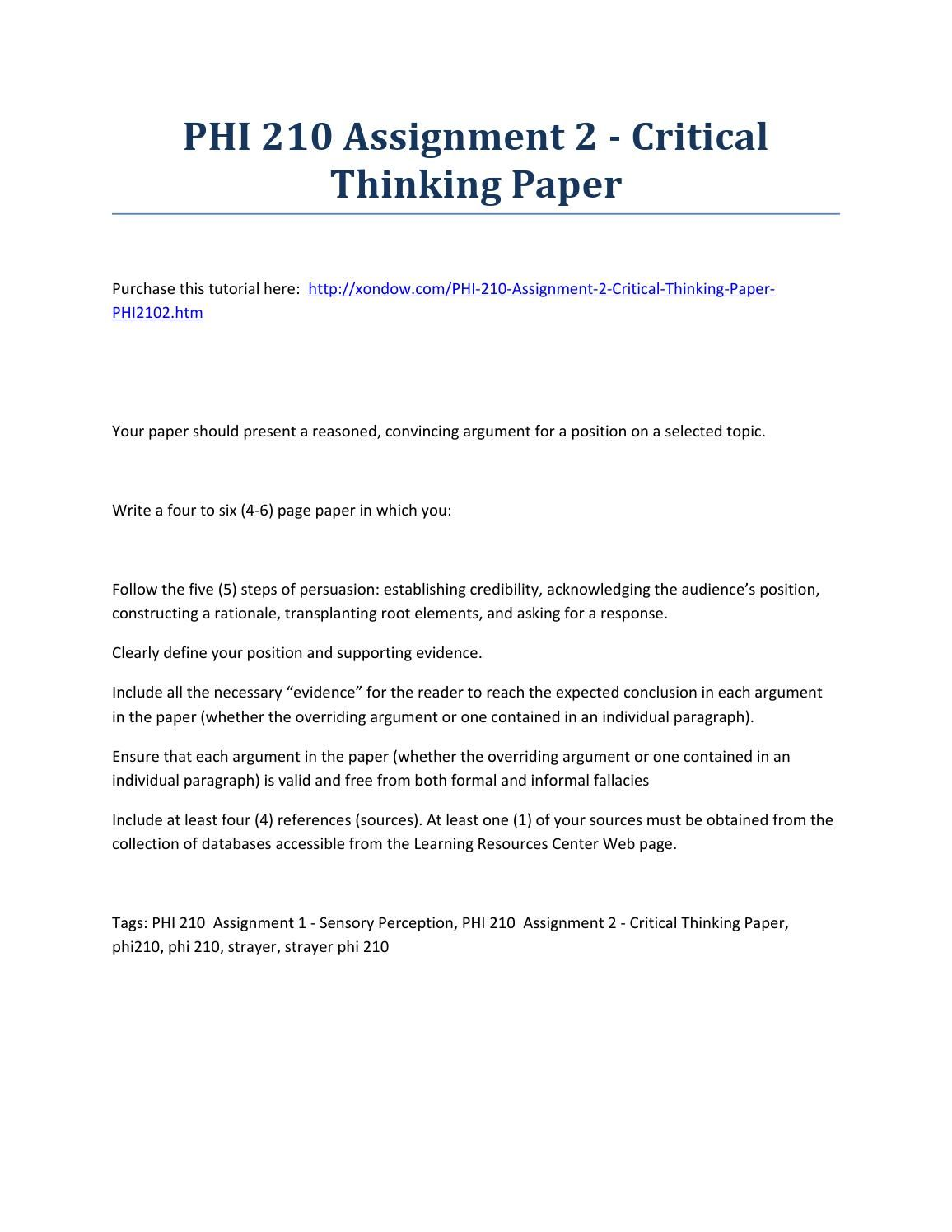 critical thinking paper 2 revision