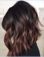 Kirschschokolade Brunette Balayage Haarfarbe-Ideen für schwarze Lob-Frisuren  Sarina Abisheva #balayagebrunette
