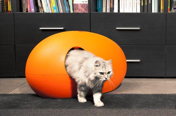 Cat litter box, Poopoopeedoo in orange, http://www.pet-interiors.de/de/katzentoilette-poopoopeedo_artnr300000