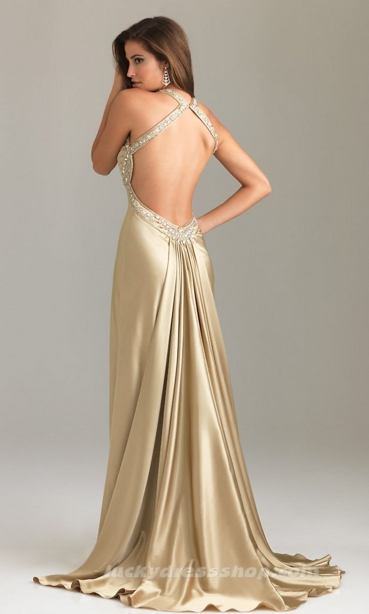 Sexy Champagne Halter Long/Floor-length Evening Dress With Crystal ...