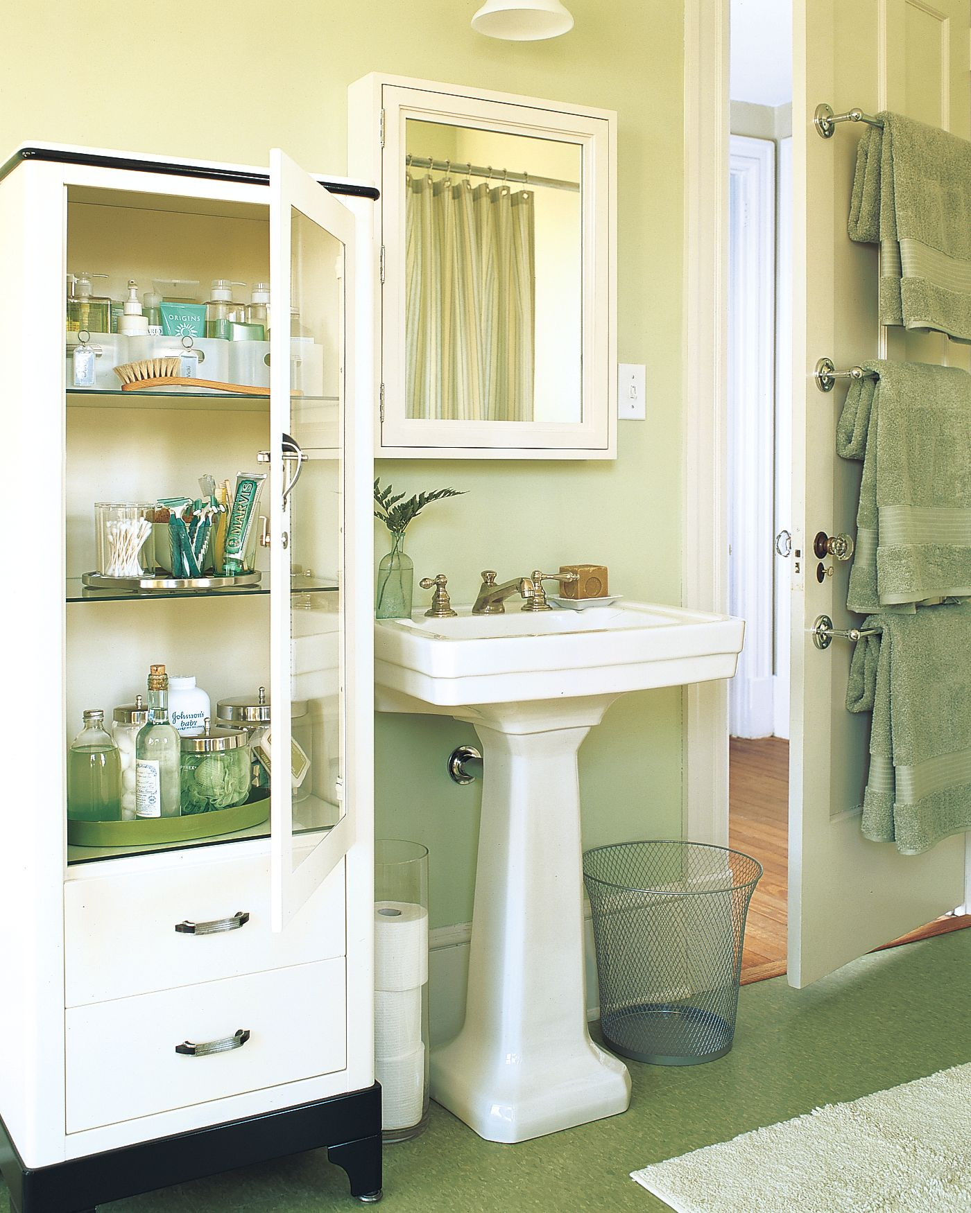Smart Space Saving Storage Ideas For Small Bathrooms Space Saving Bathroom Vintage Medical Cabinet Green Bathroom