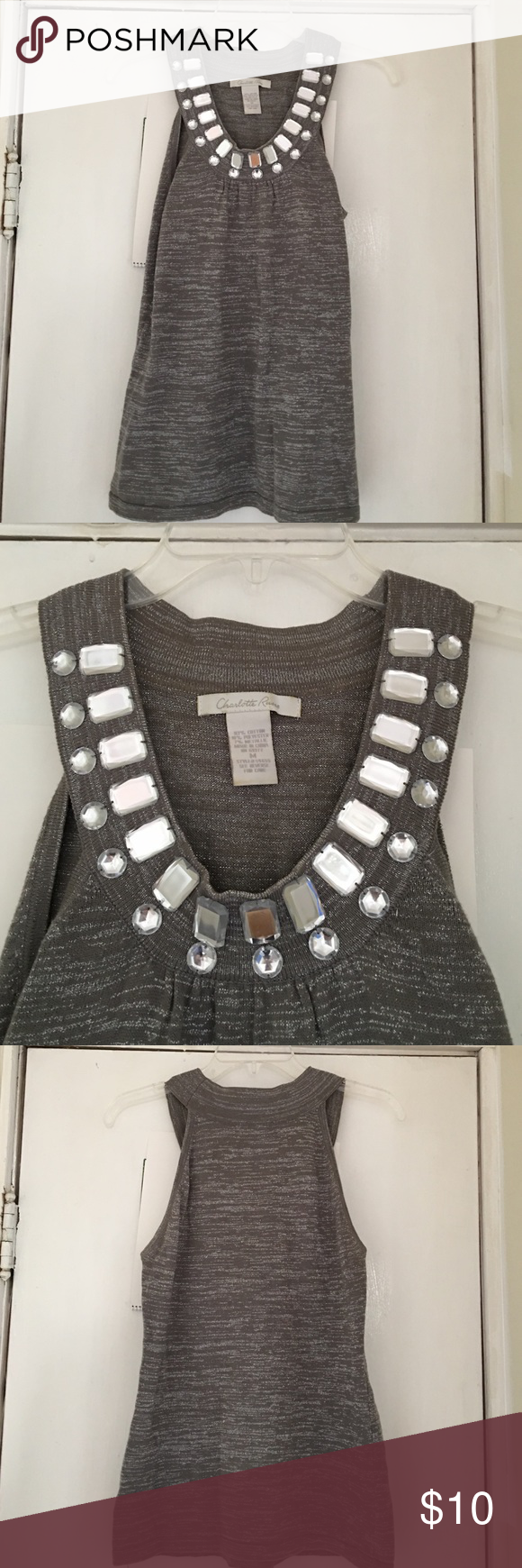 Silver Bedazzled Tank Top Beautiful tank top, light sweater material. Grey with silver sparkles throughout fabric. Jewels at the neckline help create a beautiful silhouette. Great condition, comes from a smoke-free, pet-free home! Charlotte Russe Tops Tank Tops