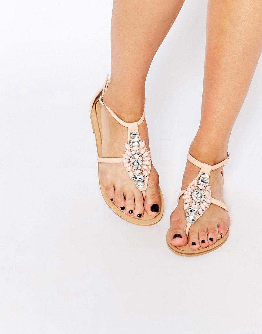 Sandalias Planas de Color Plateado - Foreva nSm3tSn