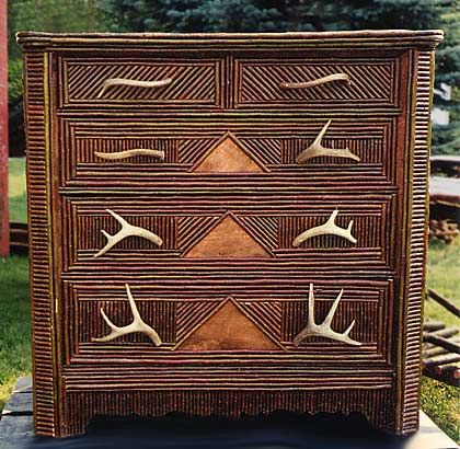 Adirondack Style Dresser with Antler Drawer Handles and Twig Detail #twigfurniture