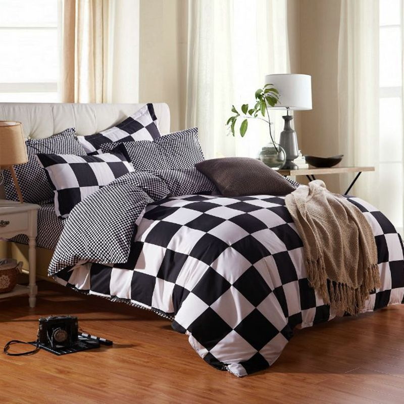 Duvet Cover Sets Bedding, Black And White Check Queen Bedding