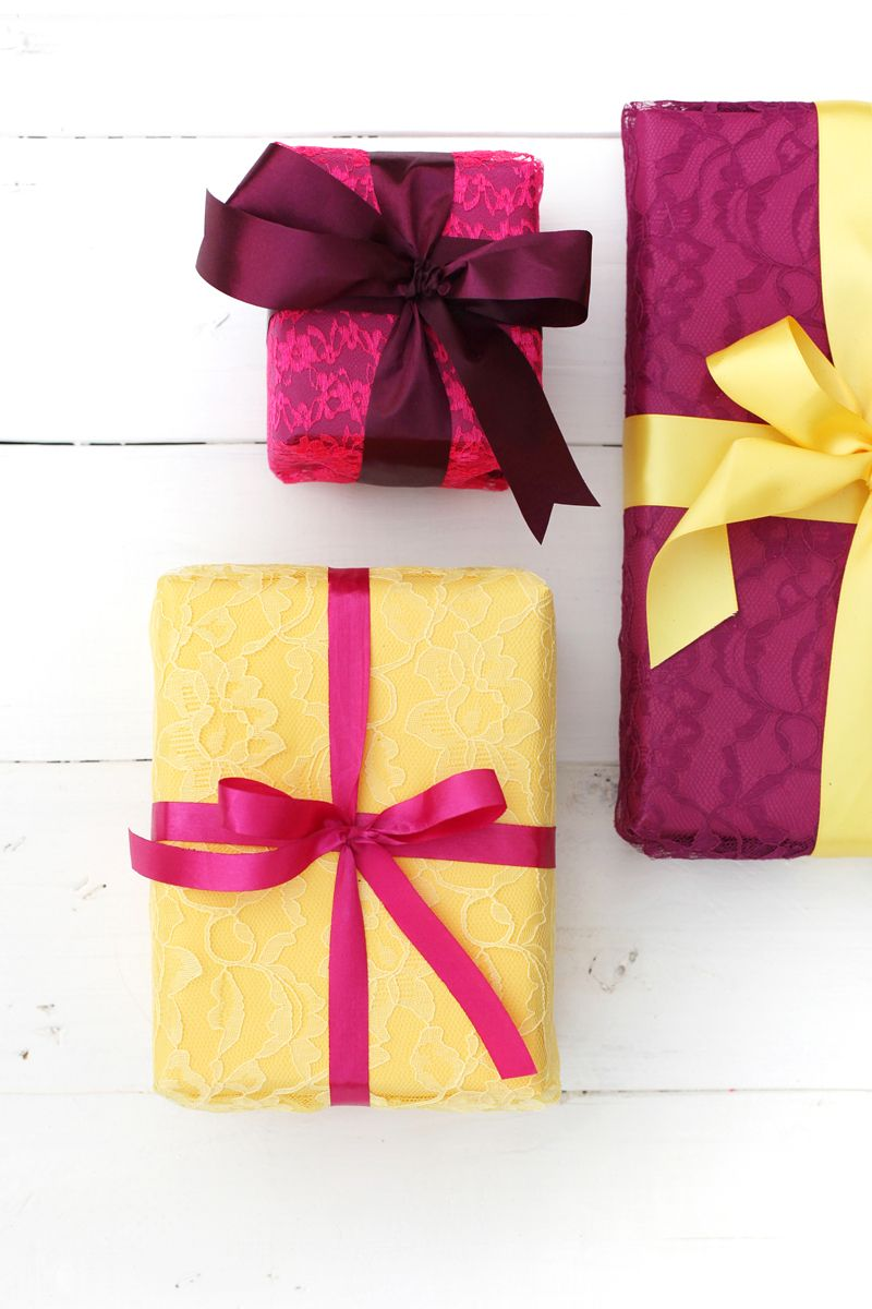 Try This Wrapping Gifts With Fabric Lace Holiday Spirit Gift
