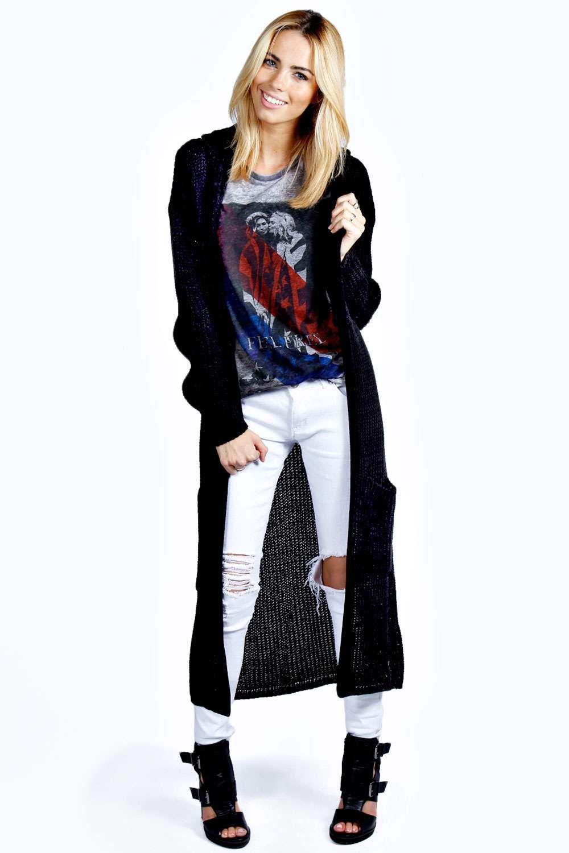 Boohoo Emily Hooded Maxi Cardigan - on Vein - getvein.com ...