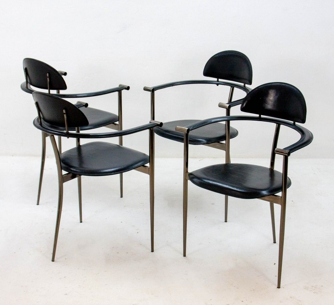 Set Of 4 Stiletto Dinner Chairs By Arrben Italy, 1960s